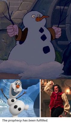 Josh Gad (LeFou, 2017 Beauty & the Beast) voiced Olaf in Frozen! Too bad the snowman scene in Beauty and the Beast didn't make the cut. What an Easter egg!