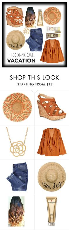 """Tropical Vacation"" by carlthellama57 ❤ liked on Polyvore featuring Thalia Sodi, Lord & Taylor, Roberto Cavalli, Essie, Eugenia Kim, Elizabeth Arden and Sun Bum"