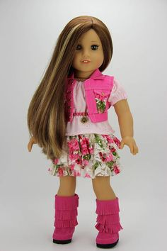 Handmade 18 inch doll clothes Pink and ivory 4 piece denim