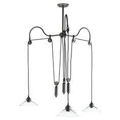 Featuring a pulley-inspired design for eclectic appeal, this industrial-chic steel chandelier brings an eye-catching touch to your foyer or kitchen....
