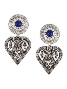 Buy Blue Silver Earrings with Floral Motif Semi precious Stones Jewelry Stitching Stories Embroidered tussar matka silk kurtas dupattas and woolen stoles Online at Jaypore.com