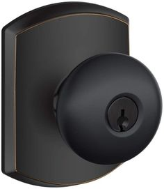 Schlage F51A-PLY-GRW Plymouth Single Cylinder Keyed Entry Door Knob Set with Dec Aged Bronze Knobset Single Dummy