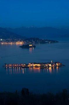 Le isole Borromee by night Stresa ( Verbania Piedmont Italy )