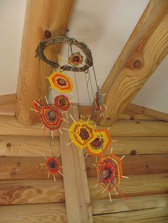 Beautiful autumn mobile - it looks like a weaving collaborative project No instructions but made from conkers, thin round wooden lolly sticks and autumn coloured wool.