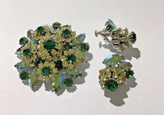 Vintage Signed Vendome Green Clear Rhinestone Brooch Pin & Clip On Earrings Set #Vendome