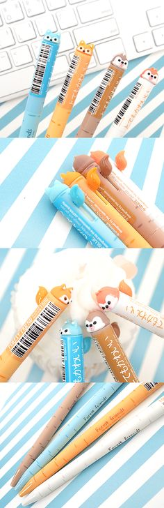 Push the super cute tail to use the pen! This adorable animal friend will provide you with pleasant writing experience with sleek body design and 0.5mm pen tip!