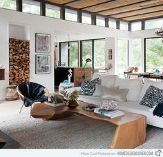 I like this modern rustic living room décor.  It might look out of place though on Arrow Lake!