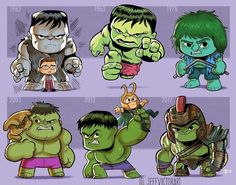 The Incredible Hulk This Artist Adorably Illustrates How Iconic Characters Have Changed Over Time Hulk Marvel, Ms Marvel, Captain Marvel, Chibi Marvel, Spiderman, Marvel Art, Marvel Dc Comics, Marvel Heroes, Joker Batman