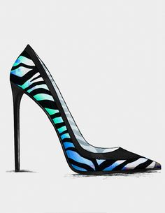 This shoe has very high contrast between very dark shadows and contours and very vibrant colors and highlights. This creates an interesting clash of contrast. Stilettos, Pumps, Cute Shoes, Me Too Shoes, Shoe Sketches, Chic Chic, Hot Heels, Bergen, Shoe Art