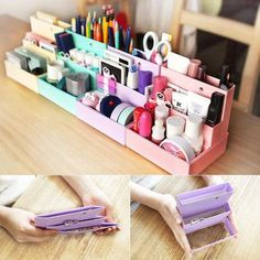 DIY Folding Paper Cardboard Storage Box Makeup Cosmetic Organizer Stationery