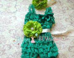 Christmas romper- Sea Green Lime Flower Romper set,baby girls outfit, Birthday outfit, flower girls, Under the Sea,Green romper,St. Pattys,