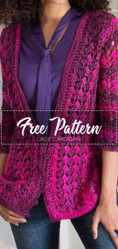 Crochet Cardigan Pattern, Crochet Tunic, Crochet Jacket, Crochet Scarves, Crochet Clothes, Easy Crochet, Free Crochet, Easy Knitting, Knitting Patterns Free