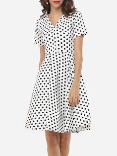 Bowknot V Neck Dacron Dot Skater Dress