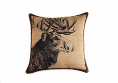 Moose Pillow, Burlap Pillow, Throw Pillow, Cushion, Accent Pillow, Log Cabin, Rustic, Industrial,  Beige Black Brown by TheWatsonShop on Etsy https://www.etsy.com/listing/106117449/moose-pillow-burlap-pillow-throw-pillow