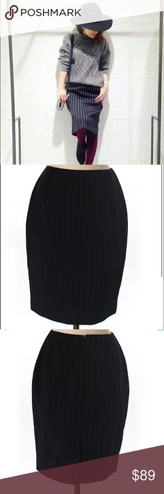"MICHAEL KORS Wool Pencil Stripe Skirt Excellent condition. Modeled pic is for styling purposes only actual skirt pics 2-3. Color is navy blue skirt is 22"" long it's dry clean only 92% wool 4% Nylon 3% rayon 1% spandex , zips in the back for closure , fits true to size in my opinion. Michael Kors Skirts Pencil"