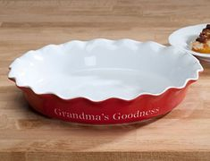 Personalized Red Ceramic Pie Dish -- Visit the image link more details.-It is an affiliate link to Amazon.