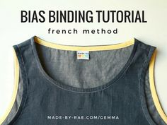 This is the third and final tutorial in my bias binding series. Many of my women's sewing patterns, including the Gemma tank shown in this post, use bias binding to finish the neckline and armholes. Sewing Lessons, Sewing Class, Sewing Basics, Sewing Hacks, Sewing Tutorials, Sewing Patterns, Skirt Patterns, Sewing Projects, Sewing Tips
