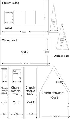 church village illustrations.   These patterns (there is a house on this site, as well) are cut from soft wood, but I think they would work with cardboard.   Very traditional shapes.: