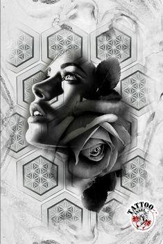 Blackwork Rose Face Tattoo Motiv Tattoo Design Drawings, Tattoo Designs, Blackwork, Flower Cover Up Tattoos, Black And White Face, Geometry Tattoo, Tattoo Motive, Tattoo Studio, Black Tattoos