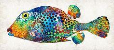 #pufferfish #fish Puffer Fish Art - Puff Love - By Sharon Cummings