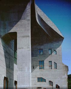 Detail of the facade of the second Goetheanum, a center of studies of Anthroposophy, a philosophy and art theory developed by Rudolf Steiner (1888-1925).   Goetheanum, Dornach, Switzerland
