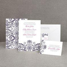 wedding invitations  Vintage Damask - Purple - Invitation