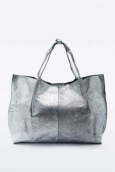 Out From Under Soft Metallic Leather Shopper Bag in Silver
