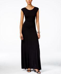 Karen Kane V-Back Cap-Sleeve Maxi Dress