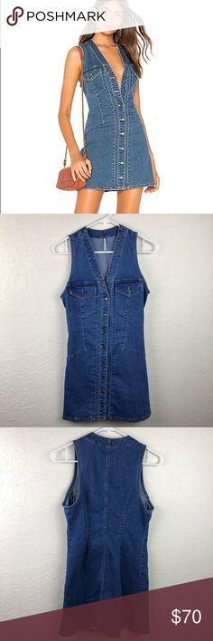 9a8c2c940c4 Free People Wandering Star Denim Dress Free People wandering star denim  button down dress in size Excellent used condition. Kristine Elise