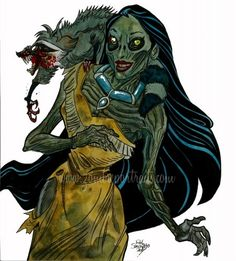 Zombie Pocahontas : New Disney Princesses of the Living Dead! - Zombie Art by Rob Sacchetto Disney Horror, Goth Disney, Walt Disney, Disney Love, Disney Art, Zombie Cartoon, Zombie Art, Disney Princess Zombie, Princesas Disney Zombie