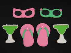 Summer theme cookies: flipflops, margaritas & sunglasses.  Sounds like fun! jsweetstreats.vpweb.com or FB- Jsweets Treats