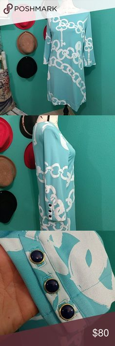 "Lilly Pulitzer Jonah Shorely Blue Ball And Chain M Brand New WOT. From shoulder to hem is 33"" Teal blue and white Lilly Pulitzer Dresses Midi"