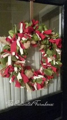 A cute country Christmas rag wreath