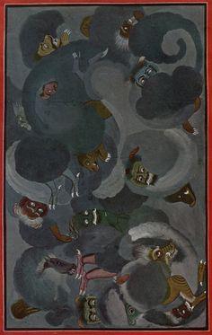 Basohli Painting - The Birth of Evil, illustration to the Bhagavata Purana, Basohli, c. Bhagavata Purana, Demonology, High Art, Book Images, Indian Paintings, Mural Art, Beauty Art, Indian Art, Fascinator