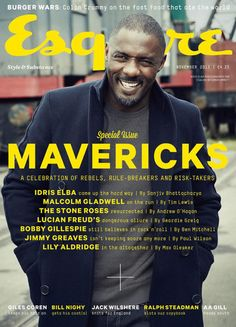 English actor, Idris Elba graces the cover of Esquire UK in some of fall's most wanted men's outerwear. In the issue he discusses his recent biopic, Long Walk to Freedom, which he plays Nelson Mandela. Idris Elba, Luther, Esquire Uk, Malcolm Gladwell, Male Fashion Trends, Dapper Men, New Politics, Better Half, Prince Charles