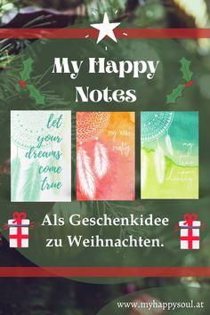 """Du suchst noch ein Weihnachtsgeschenk für Freunde oder deine Familie? Dann sieh dir doch unsere Notizbücher """"MyHappyNotes"""" an, sie eignen sich super zum Tagebuch schreiben, journaling, als Skizzenheft und vieles mehr. #Notizbuch #Geschenk #Journaling #Kreativ #Freude #Glück #glücklich #Weihnachtsgeschenk #Weihnachten"""