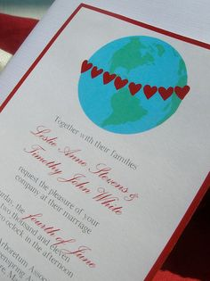 Hearts around the Globe Wedding Invitation by handpaintedwedding, $50.00