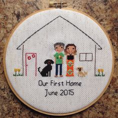 Custom Family Portrait Cross Stitch by NoBasicStitches on Etsy