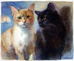 """Yellow black kitties"" 8""x10"" watercolor"