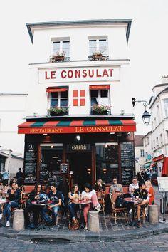 Montmartre. Paris, France. Cafe, people, building, architecture