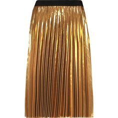 DKNY Pleated lamé skirt (70.210 HUF) ❤ liked on Polyvore featuring skirts, gold, knee length pleated skirt, brown skirt, dkny, lame skirt and below the knee skirts