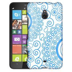 Nokia Lumia 1320 Paisley Circles Blue on White Slim Case