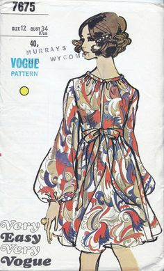 Very Easy Very Vogue sewing Pattern 7675, Bust 34 inches, Waist 25.5 inches, Factory Folded, 60s Vogue dress sewing patterns. Misses One-piece Dress: