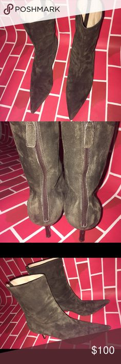 Michael Kors Green Suede Boots GENTLY used green suede boots size 9 lil scuffs on the heel and a little lint as they are suede but overall pretty good Michael Kors Shoes Ankle Boots & Booties