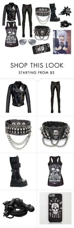 """""""Goth Outfit"""" by abipatterson ❤ liked on Polyvore featuring FAUSTO PUGLISI, A.F. Vandevorst, Demonia, Urbanears and Ray-Ban"""