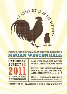Country Themed Baby Shower Invitations For Boys Themes Party