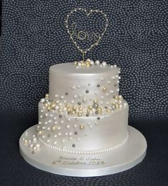 Pearl Anniversary Cake with handmade gold and pearl love heart cake topper. 30th Wedding Anniversary cake. Pam Bakes Cakes, pambakescakes