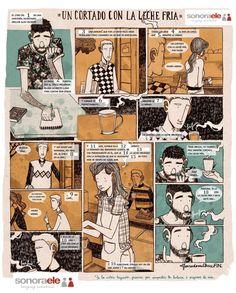 """A2/B2 - Aquí tenéis una historia gráfica titulada """"Un cortado con la leche fría"""", de Alfonso Casas. Hemos quitado los verbos y los hemos puesto aquí: ESTAR (2) - HABLAR - ENTRAR (2) - PEDIR (3) - ESCUCHAR (2) - SERVIR (3) - RESULTAR - ENAMORAR - PASAR - DEBER - SER ¿Por qué no los ponéis en la forma correcta del pasado? ¡Hay uno que va en subjuntivo! Por ejemplo: 1 - Estaba"""