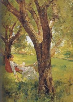 Walter Launt Palmer - Afternoon İn Hammock. #reading, #books