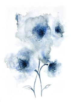 Large Original Abstract Watercolour Painting Of Blue Flowers Size 22 X 15 5 Inches 56 39 Cm Rox Signed And Dated